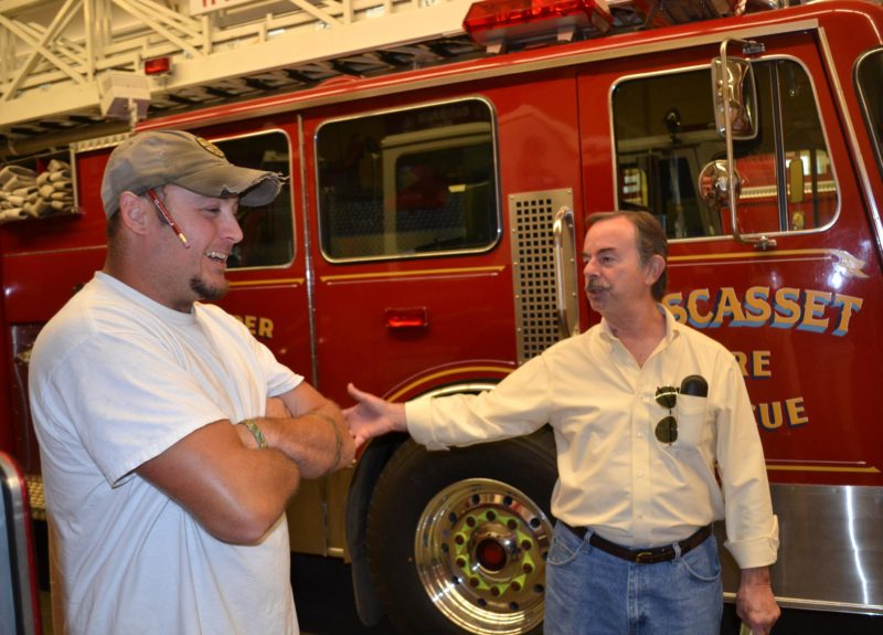 Wiscasset Fire Chief T.J. Merry (left) and Selectman David Cherry on a tour of the fire station in September. (Abigail Adams photo)