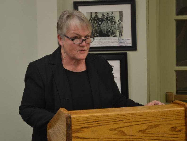 Marge Kilkelly, senior policy advisor to U.S. Sen. Angus King, speaks with the Wiscasset Board of Selectmen on Tuesday, Nov. 15 about a proposal to form an alliance with other communities dealing with nuclear waste. (Abigail Adams photo)