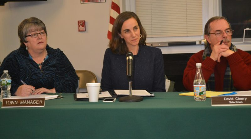 From left: Wiscasset Town Manager Marian Anderson, town attorney Shana Mueller, and Selectman David Cherry listen to public comment about the Maine Department of Transportation dowtown traffic project during a meeting of the Wiscasset Board of Selectmen at the Wiscasset Community Center on Tuesday, Nov. 1. (Abigail Adams photo)