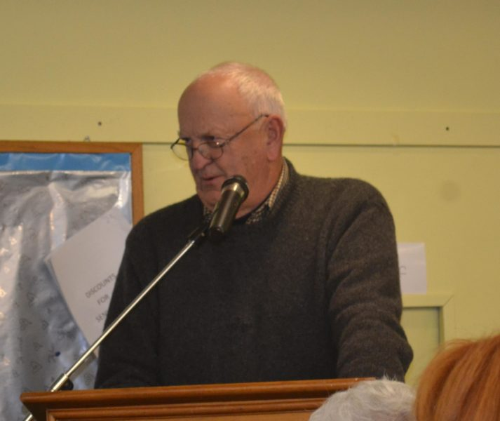 Wiscasset Taxpayers Alliance spokesperson Bill Sutter addresses the Wiscasset Board of Selectmen on Tuesday, Nov. 1. (Abigail Adams photo)