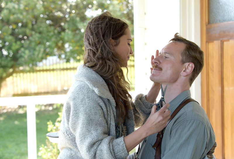 "Alicia Vikander and Michael Fassbender in ""The Light Between Oceans."""