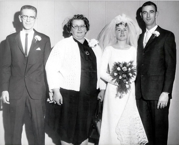 From left: Rufus and Barbara Teele, parents of the bride; and newlyweds Rita and Dana Simmons on Dec. 3, 1966. (Photo courtesy Lynn Carlson)