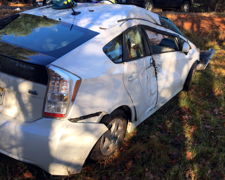 The driver of a 2010 Toyota Prius is at Maine Medical Center in Portland after an accident at the intersection of Biscay Road and Lessner Road in Damariscotta the morning of Friday, Dec. 2. (Photo courtesy Sgt. Jason Warlick)