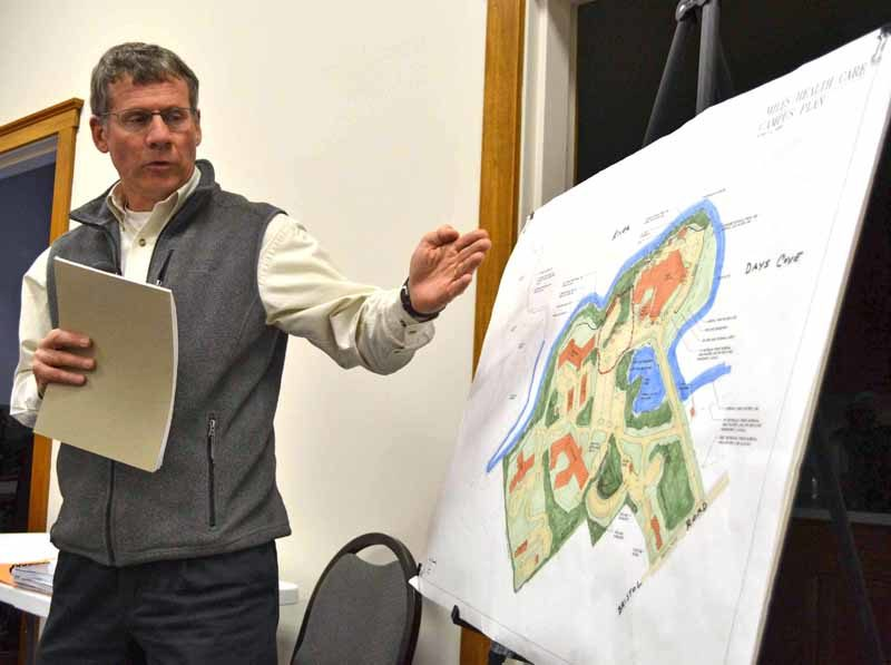 Peter Biegel, a landscape architect with Land Design Solutions, talks about the plan for LincolnHealth's outpatient health center during a public hearing at the Damariscotta town office on Monday, Dec. 5. The Damariscotta Planning Board approved LincolnHealth's application after the public hearing. (Maia Zewert photo)