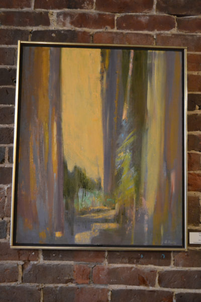 """Lina Burley's finely executed abstract oil painting """"Woodpaths"""" invites the viewer into a scene that possesses the barest hints of realism. The painting is part of a three-woman art show on the walls of the Damariscotta River Grill through Tuesday, Jan. 24. (Christine LaPado-Breglia photo)"""
