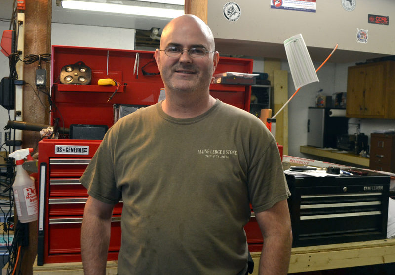 Jason Rogers, of North Waldoboro, at his business, Precision Tool Repair, at 74 Biscay Road in Damariscotta. Rogers opened the business in May. (Maia Zewert photo)