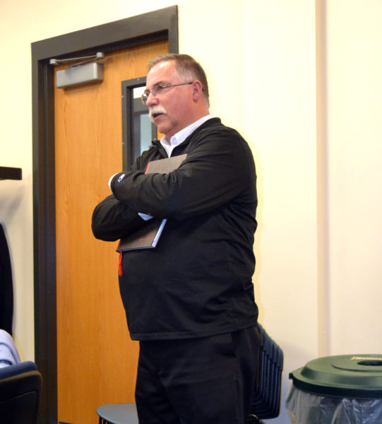 Chuck Thompson, of the Thayer Corp., addresses the Lincoln and Sagadahoc Multicounty Jail Authority on Wednesday, Dec. 14. (Abigail Adams photo)