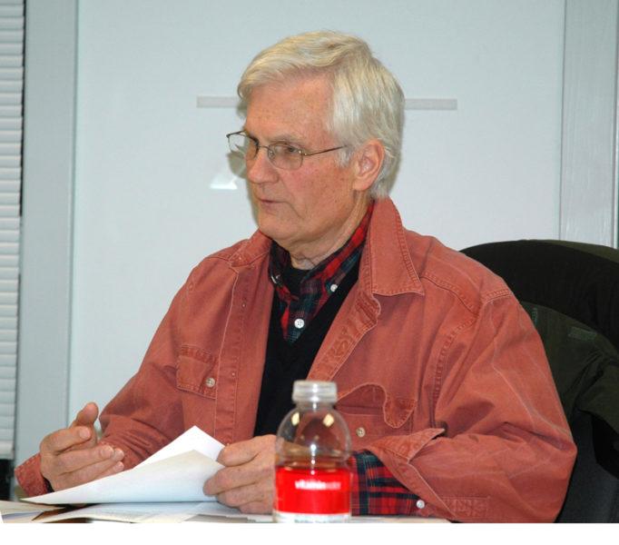 Waldoboro Selectman Bob Butler discusses a possible moratorium on retail marijuana sales. (Alexander Violo photo)