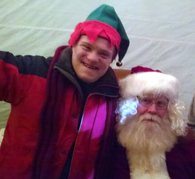 Myles Frederick with Santa Claus in 2015