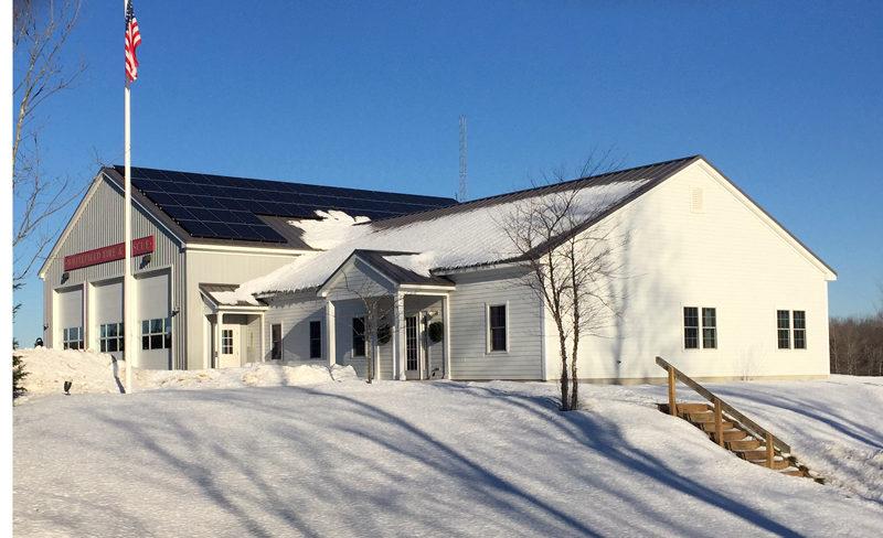 The 18.72-kilowatt solar array on the Whitefield municipal fire station is fully operational as of Tuesday, Dec. 27. (Photo courtesy Erik Ekholm)