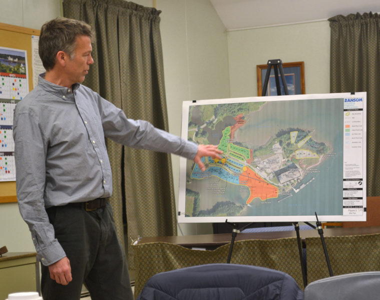 Stephen Dyer, of Ransom Consulting Inc., reviews the Brownfields Assessment work completed on town-owned Mason Station properties during a public hearing in Wiscasset on Wednesday, Dec. 14. (Abigail Adams photo)