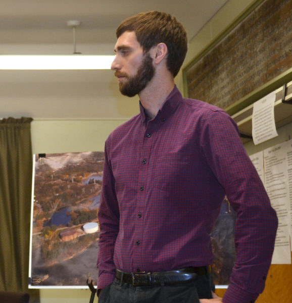 Wiscasset Town Planner Ben Averill attends a public hearing Wednesday, Dec. 14 about the town's application for U.S. Environmental Protection Agency Brownfields Cleanup Grants. (Abigail Adams photo)