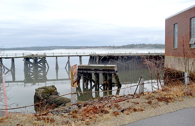 The pier at Mason Station in February. Joseph Cotter, of Mason Station LLC, has proposed renovating the pier as part of a new project to transform the power plant and surrounding properties into a marijuana tourist destination. (Abigail Adams photo)