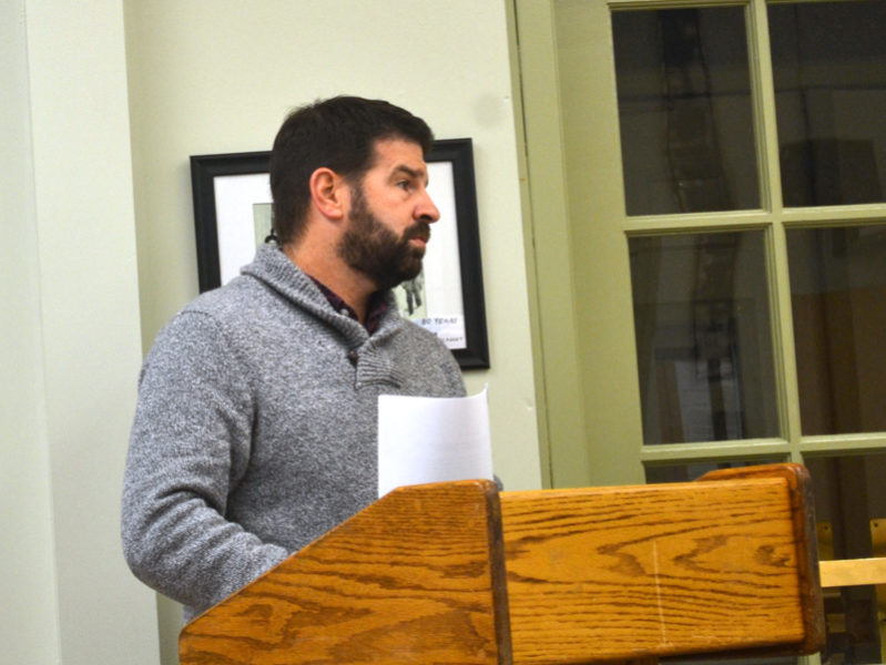 Wiscasset Parks and Recreation Director Todd Souza addresses the Wiscasset Board of Selectmen on Tuesday, Dec. 6. (Abigail Adams photo)