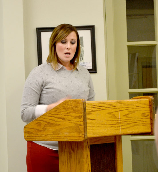 Wiscasset School Department Superintendent Heather Wilmot gives a presentation about the department's proposed energy conservation project during the Wiscasset Board of Selectmen's meeting Tuesday, Dec. 6. (Abigail Adams photo)