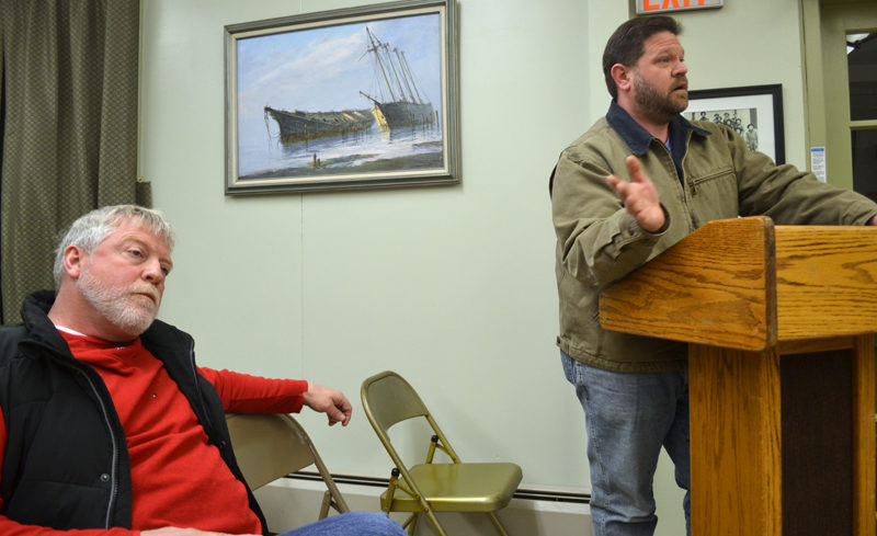 Wiscasset School Committee member Glen Craig (left) and Chair Michael Dunn respond to selectmen's objection to their recent approval of an energy conservation performance contract at the Wiscasset Board of Selectmen's Tuesday, Dec. 20 meeting. (Abigail Adams photo)