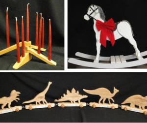 "Craftsman Fred Bischoff has created beautiful handmade items to sell for the holidays to benefit the Waldoboro Public Library, such as foldable candle holders (upper left). Up for bid in a silent auction are ""Rocky Hoss"" (upper right) and a dinosaur train."