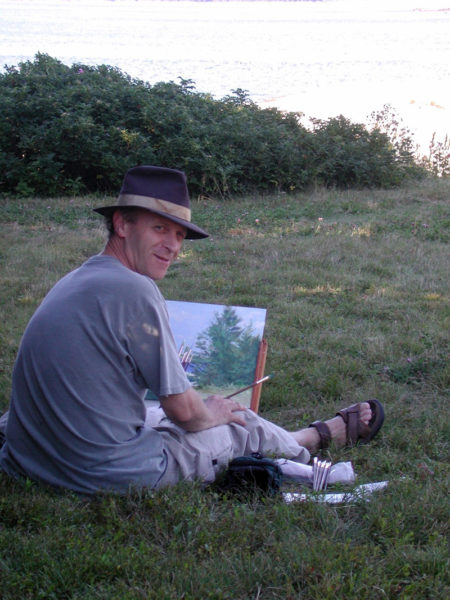 Douglas Smith paints on Marsh Island.
