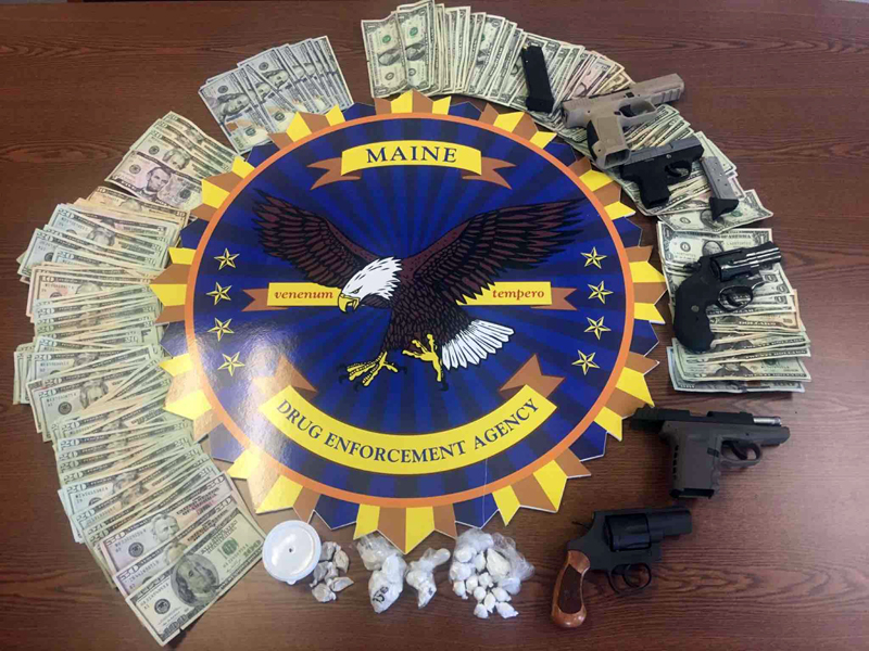 About $10,000 of crack cocaine and heroin, about $4,000 in cash, and five handguns were among the contraband seized during a drug bust in Augusta the morning of Tuesday, Dec. 20. Two Wiscasset women are among the 12 people who face charges in the investigation.
