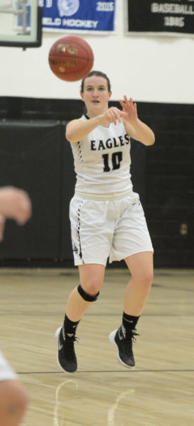 Anna Hatch passes the ball up the court for the Lady Eagles. (Paula Roberts photo)