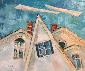 """Waldoboro Main Street,"" an oil painting on canvas from Jean Kigel's Attic Window Series."