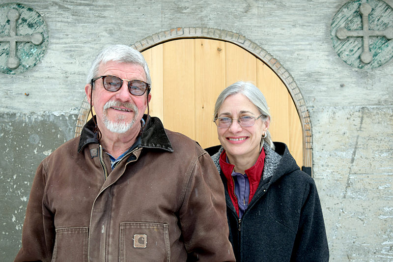 Kurt and Andrea Rauscher in front of the entrance to their new cheese cave. The Rauschers own and operate The Creamery at Bristolhof. (J.W. Oliver photo)