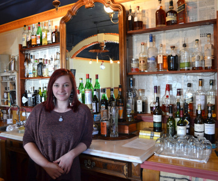 Meredith King, the new owner of Van Lloyd's Bistro in downtown Damariscotta, at the restaurant's bar on Monday, Jan. 9. King had been an employee of the restaurant since it opened in June 2014. (Maia Zewert photo)