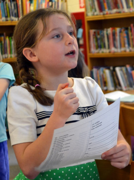 Great Salt Bay Community School third-grader Amelia Starbird calls out the answer to a math problem during a meeting of the Spanish club in the school library Monday, Jan. 29. (Maia Zewert photo)