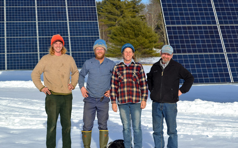 From left: Goran and Carl Johanson, Jan Goranson, and Rob Johanson stand in front of Goranson Farm's new solar installation Monday, Jan. 2. The installation will contribute to the farm's agricultural, environmental, and economic sustainability. (Abigail Adams photo)
