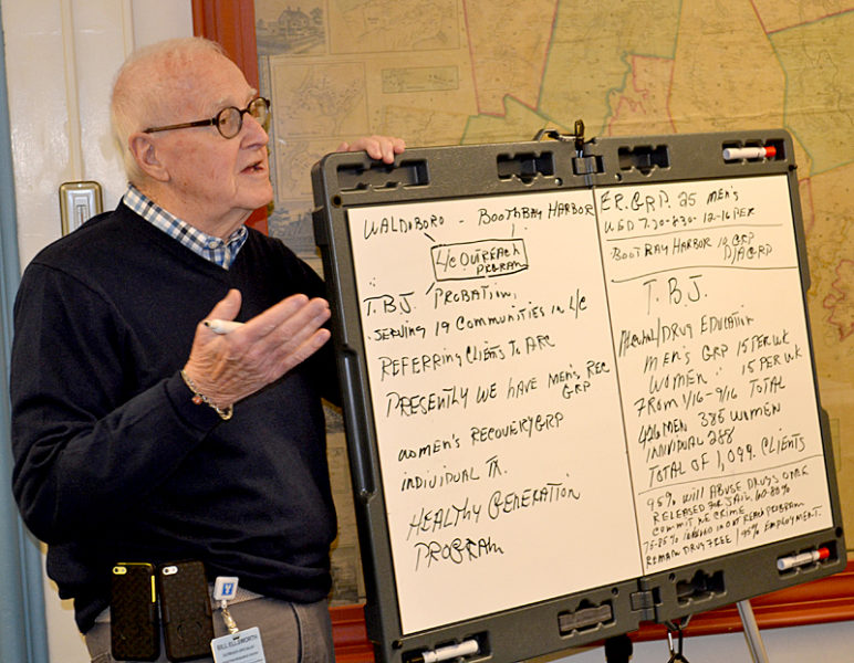 Bill Ellsworth, a recovery coach with the Addiction Resource Center, makes a presentation to the Lincoln County Board of Commissioners on Tuesday, Jan. 3. (Abigail Adams photo)