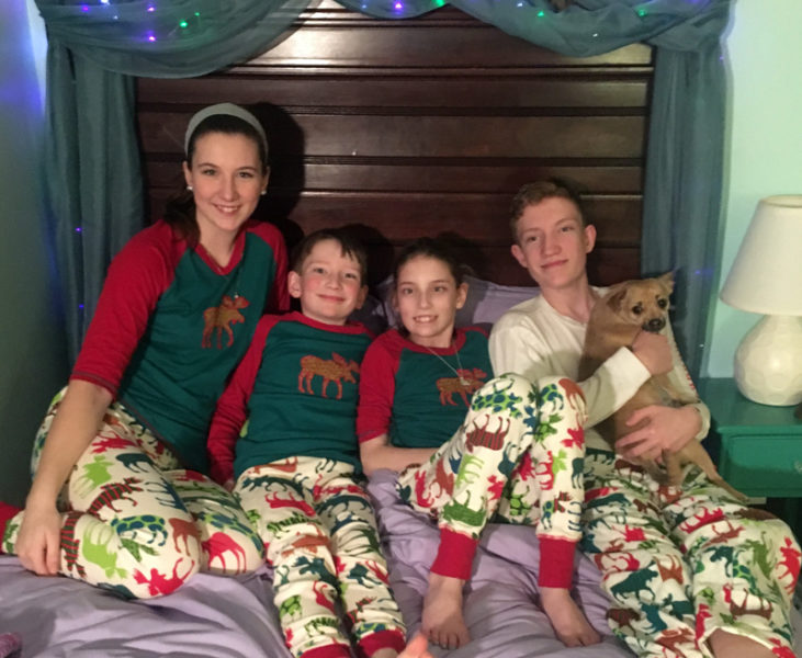 After almost two months at the Barbara Bush Children's Hospital in Portland after surgery to remove a brain tumor, 12-year-old Alice Skiff was discharged to spend Christmas with her family at their Newcastle home. From left: Margaret, William, Alice, and Gardner Skiff. (Photo courtesy Linda Skiff)