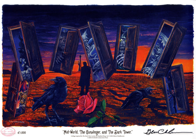 """The Dark Tower Portfolio"" features paintings by Glenn Chadbourne for each of the eight books in Stephen King's ""The Dark Tower"" series, as well as a ninth work exclusive to the set: ""Mid-World, The Gunslinger, and The Dark Tower."" (Image courtesy Glenn Chadbourne)"