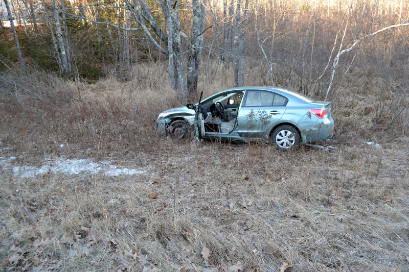 A 2016 Subaru Impreza was damaged and its driver taken to the hospital after an accident on Route 1 in Newcastle on Sunday, Jan. 15. (Maia Zewert photo)