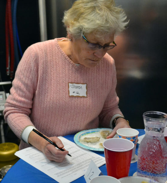 Sharon Morrill reviews the form to rate each oyster as part of Mook Sea Farms' taste test at Split Rock Distilling in Newcastle. (Abigail Adams photo)