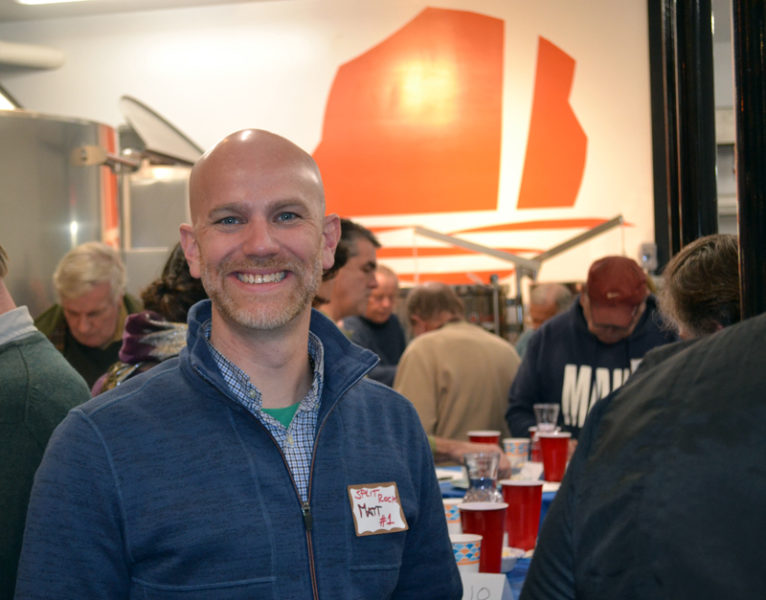 Split Rock Distilling co-owner Matt Page hosts Mook Sea Farms' first double-blind taste test at the distillery in Newcastle on Friday, Jan. 6. (Abigail Adams photo)