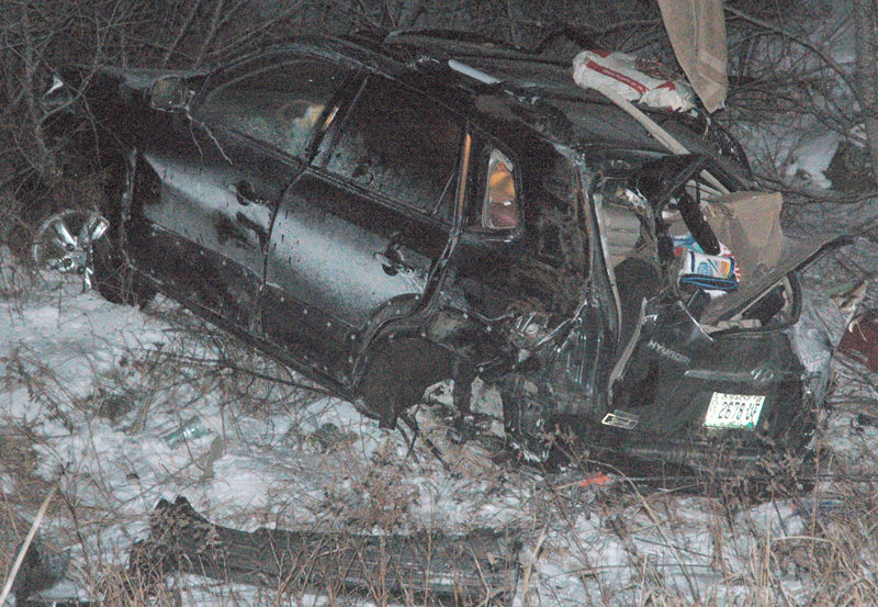 A 2008 Hyundai Tucson sustained extensive damage in a single-vehicle accident on Upper East Pond Road in Nobleboro the evening of Sunday, Jan. 8. (Alexander Violo photo)