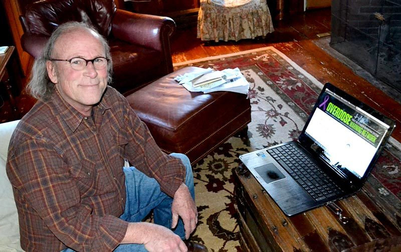 Tim Cheney demonstrates how the Overdose Warning Network application will enable real-time reporting and analysis of opioid overdoses at his South Bristol home Thursday, Jan. 5. (Abigail Adams photo)