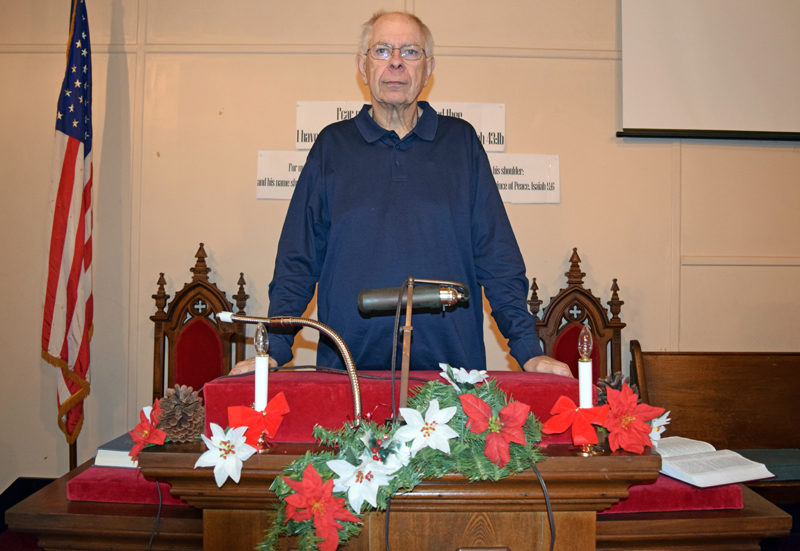 John C. Dancer at the pulpit of South Somerville Baptist Church, where he was the pastor for 32 years. He retired at the end of December. (J.W. Oliver photo)