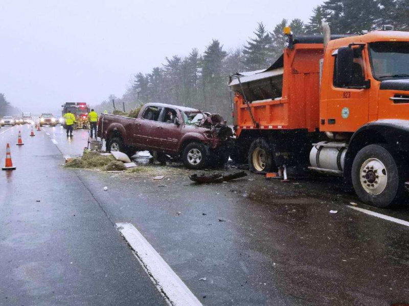 The scene of a fatal accident on the Maine Turnpike in Wells the morning of Friday, Jan. 6. Michael Sands, 48, of Waldoboro, died in the crash.