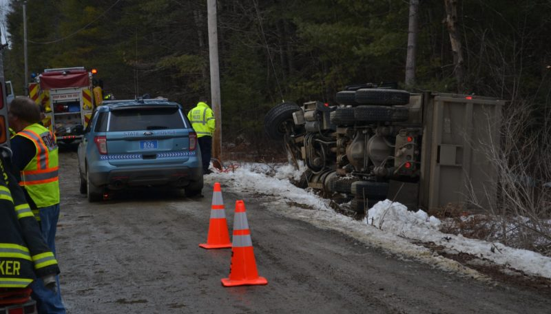 The operator of this gravel truck was pronounced dead at the scene after the truck rolled on its side the early afternoon of Friday, Jan. 20. (Abigail Adams photo)