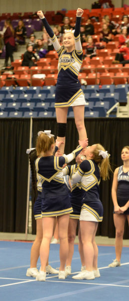 boothbay cheerleaders placed sixth at the South Class C Regionals to qualify for the State meet. (Paula Roberts photo)