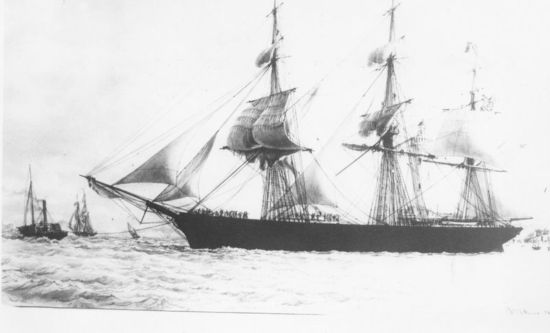 """The Ocean Herald was built by Col. Cyrus Cotter here in Damariscotta on the end of Water Street in 1853. She was the largest vessel ever built in the Twin Villages. She was 234 feet, five inches long, and had a beam of 44 feet, two inches, and a depth of 22 feet, one inch. Her tonnage was 2,135 tons. One can read about this clipper in the book """"Greyhounds of the Sea."""" (Photo courtesy Marjorie and Calvin Dodge)"""