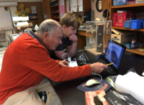 In January, Science Club students worked with presenters Jim Parmentier and Fred Cichocki to learn about owls, dissect owl pellets, and identify and reassemble bones found in the owl pellets.