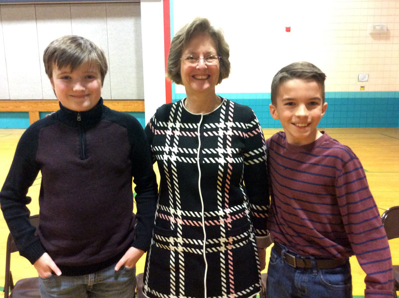 Alden Hunold (right), a sixth-grader at NCS, won the school geography bee on Jan. 25. Pictured with him are runner-up Isaac Powell and NCS Principal Ann Hassett.