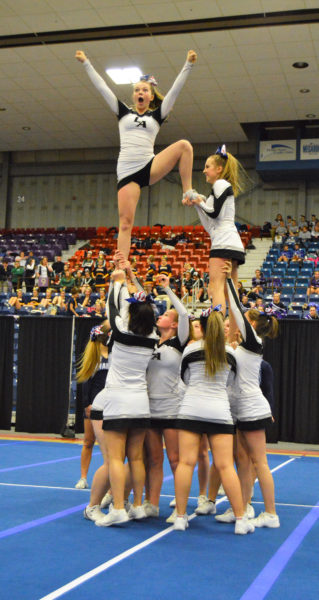 Lincoln Academy cheerleaders perform at the KVAC championships on Jan. 16 at the Augusta Civic Center. (Carrie Reynolds photo)