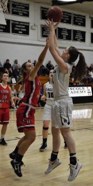 Katie Moore takes a shot for the Lady Eagles. (Carrie Reynolds photo)