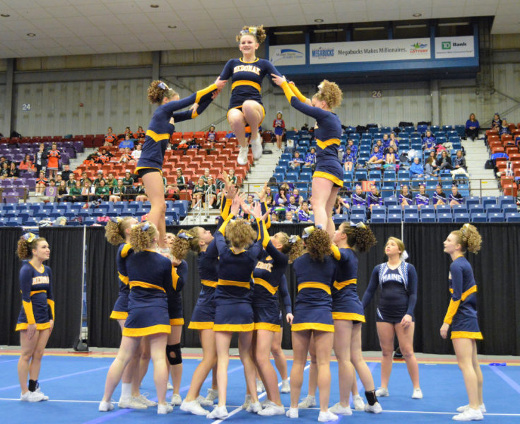 Medomak Valley cheerleaders performed near perfectly to win their third straight KVAC championship on Jan. 16 at the Augusta Civic Center. (Carrie Reynolds photo)