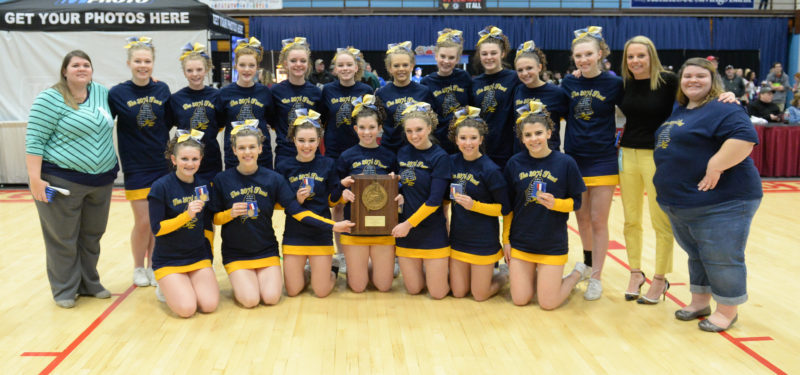 Medomak Valley cheerleaders won theirn seventh straight Regional Championship on Jan. 28 at the Augusta Civic Center. (Paula Roberts photo)
