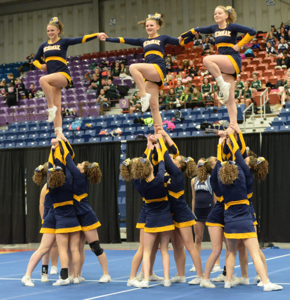Medomak Valley cheerleaders show off their winning form at the South Class B Regional championships. (Paula Roberts photo)