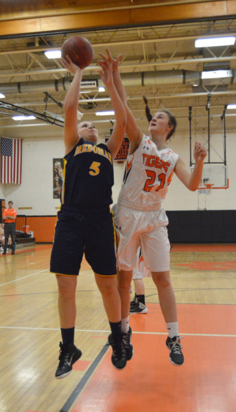 Gabby DePatsy scores two of her game high 28 points for the Lady Panthers. (Carrie Reynolds photo)